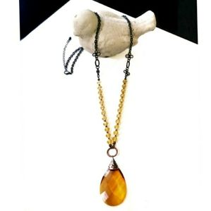 Jewelry - Amber Pendant Long Statement Necklace